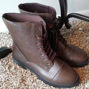 Shoes - Brown Faux Leather Combat Boots
